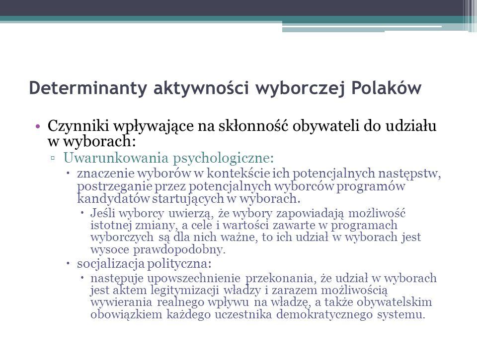 Determinanty aktywności wyborczej Polaków Czynniki wpływające na skłonność obywateli do udziału w wyborach: Uwarunkowania psychologiczne: znaczenie wy