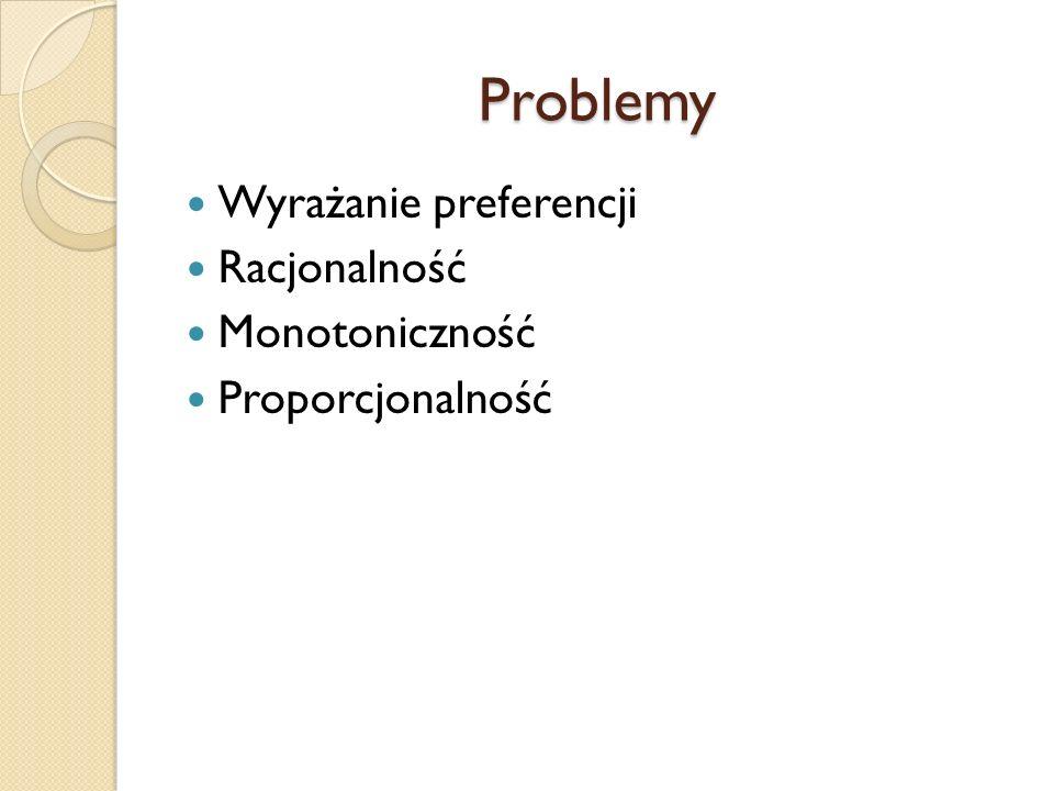 Problemy Wyrażanie preferencji Racjonalność Monotoniczność Proporcjonalność