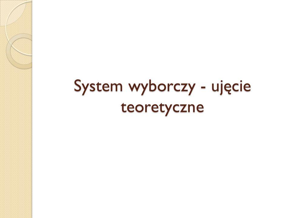 System wyborczy - ujęcie teoretyczne