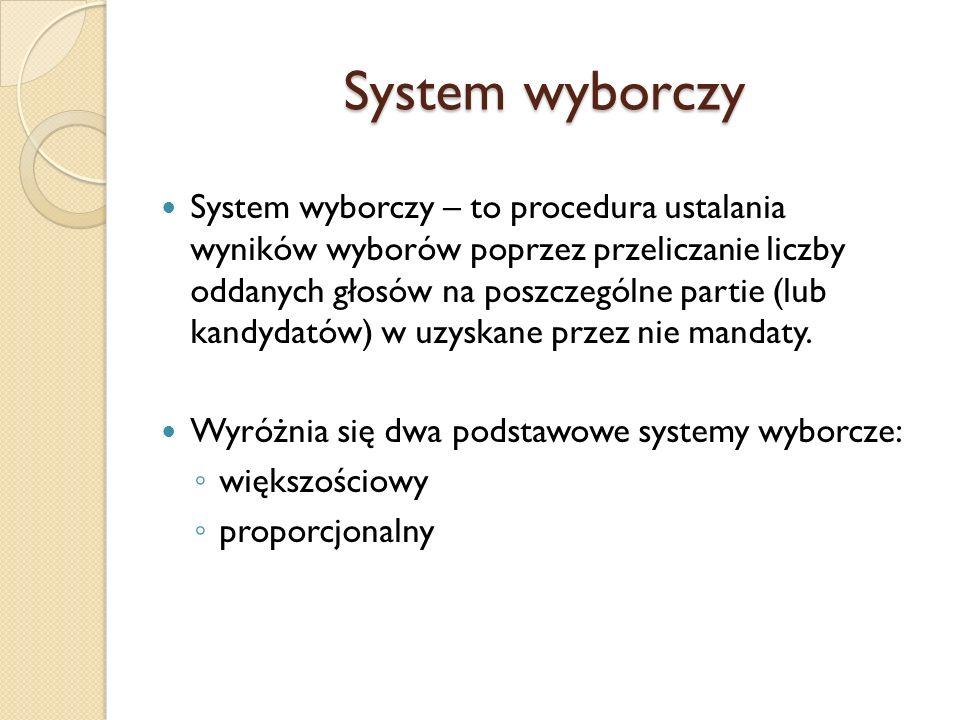 System wyborczy System wyborczy – to procedura ustalania wyników wyborów poprzez przeliczanie liczby oddanych głosów na poszczególne partie (lub kandy