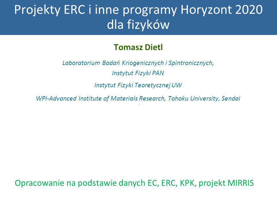 Projekty ERC i inne programy Horyzont 2020 dla fizyków Tomasz Dietl Laboratorium Badań Kriogenicznych i Spintronicznych, Instytut Fizyki PAN Instytut