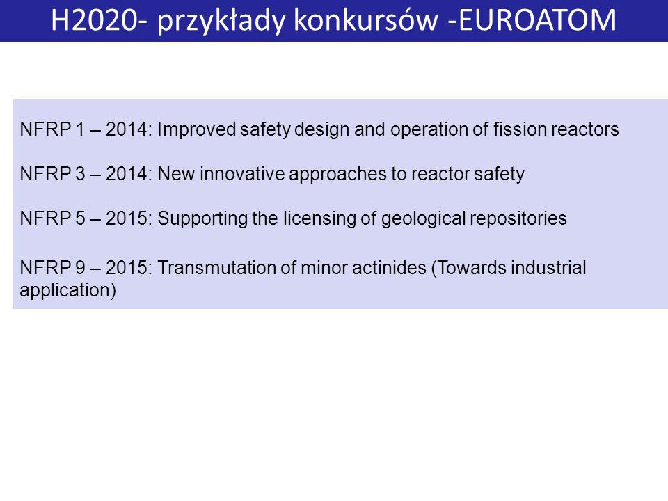 H2020- przykłady konkursów -EUROATOM NFRP 1 – 2014: Improved safety design and operation of fission reactors NFRP 3 – 2014: New innovative approaches