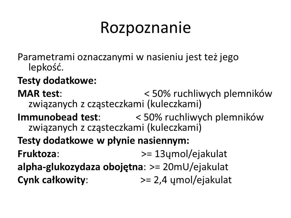 Rozpoznanie Wartości referencyjne badania nasienia wg wytycznych WHO 2010: Objętość nasienia: >= 1,5 ml pH: >= 7,2 Czas upłynnienia: < 60 minut Agluty