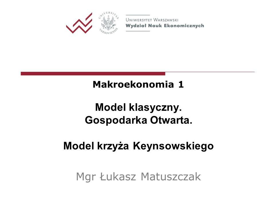Makroekonomia 1 Model klasyczny. Gospodarka Otwarta. Model krzyża Keynsowskiego Mgr Łukasz Matuszczak