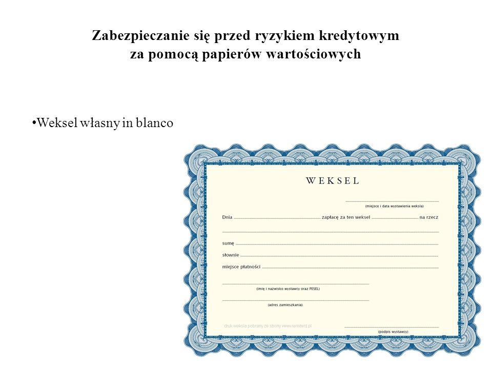 Zabezpieczanie się przed ryzykiem kredytowym za pomocą papierów wartościowych Weksel własny in blanco