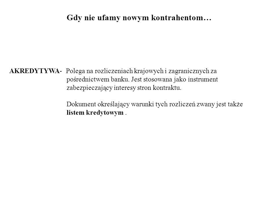AKREDYTYWA- Polega na rozliczeniach krajowych i zagranicznych za pośrednictwem banku.