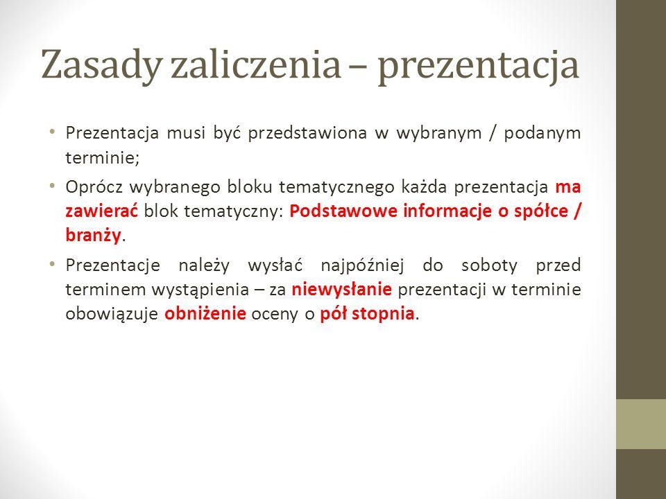 Zasady zaliczenia – prezentacja Prezentacja musi być przedstawiona w wybranym / podanym terminie; Oprócz wybranego bloku tematycznego każda prezentacj