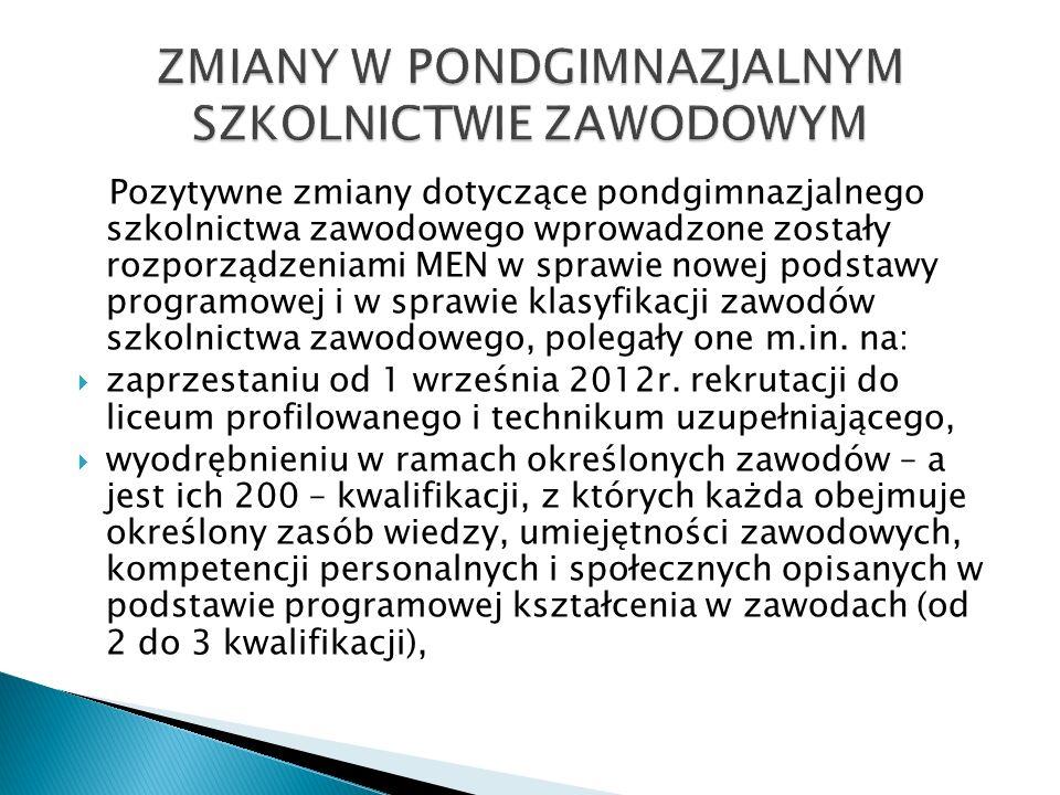 Pozytywne zmiany dotyczące pondgimnazjalnego szkolnictwa zawodowego wprowadzone zostały rozporządzeniami MEN w sprawie nowej podstawy programowej i w