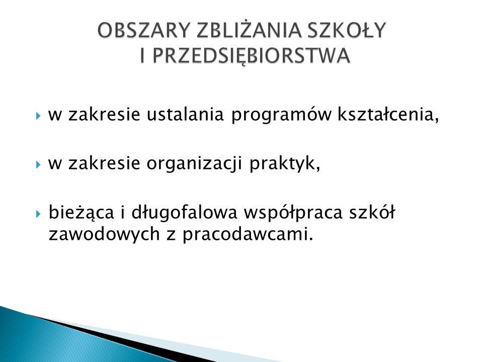 w zakresie ustalania programów kształcenia, w zakresie organizacji praktyk, bieżąca i długofalowa współpraca szkół zawodowych z pracodawcami.