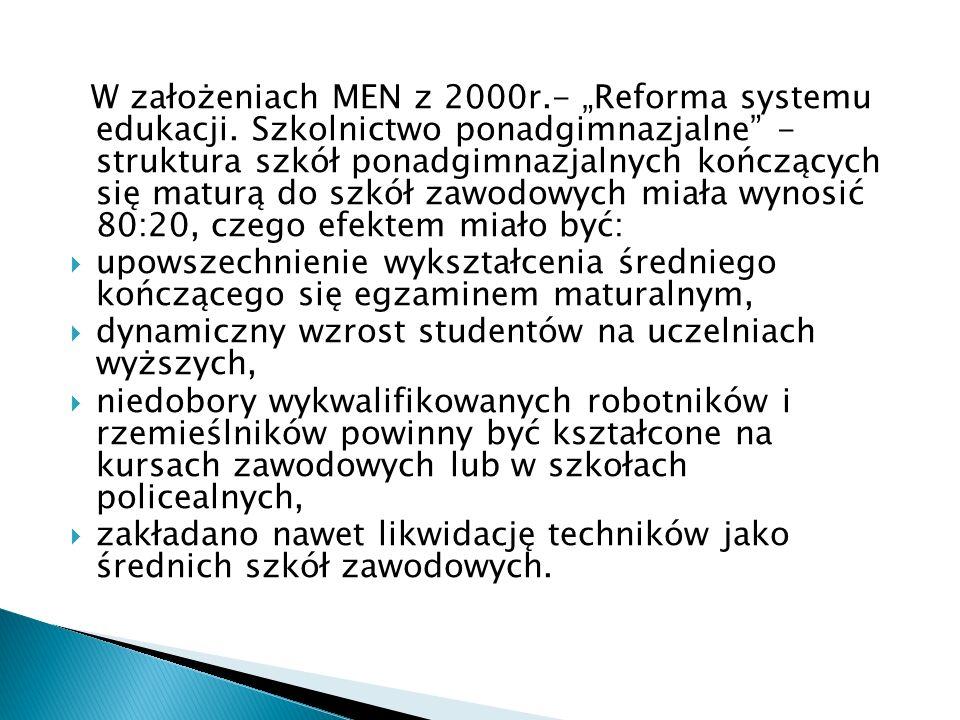 W założeniach MEN z 2000r.- Reforma systemu edukacji. Szkolnictwo ponadgimnazjalne - struktura szkół ponadgimnazjalnych kończących się maturą do szkół