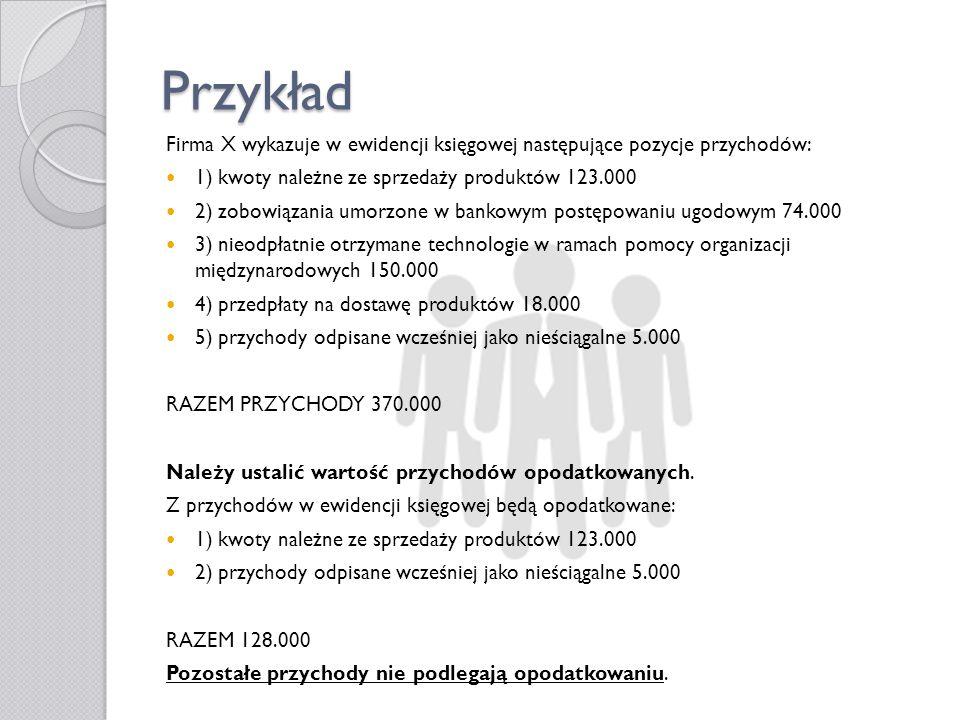 Przykład Firma X wykazuje w ewidencji księgowej następujące pozycje przychodów: 1) kwoty należne ze sprzedaży produktów 123.000 2) zobowiązania umorzo