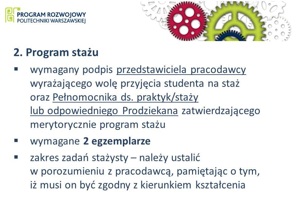 2. Program stażu wymagany podpis przedstawiciela pracodawcy wyrażającego wolę przyjęcia studenta na staż oraz Pełnomocnika ds. praktyk/staży lub odpow