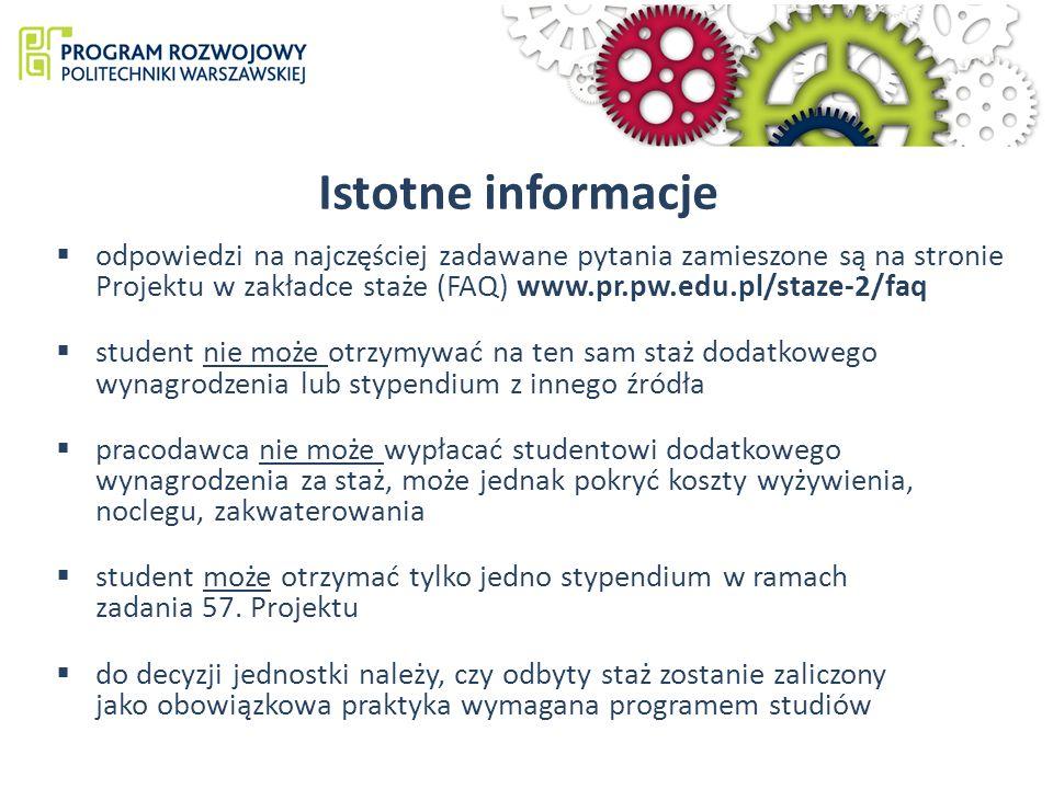 odpowiedzi na najczęściej zadawane pytania zamieszone są na stronie Projektu w zakładce staże (FAQ) www.pr.pw.edu.pl/staze-2/faq student nie może otrzymywać na ten sam staż dodatkowego wynagrodzenia lub stypendium z innego źródła pracodawca nie może wypłacać studentowi dodatkowego wynagrodzenia za staż, może jednak pokryć koszty wyżywienia, noclegu, zakwaterowania student może otrzymać tylko jedno stypendium w ramach zadania 57.