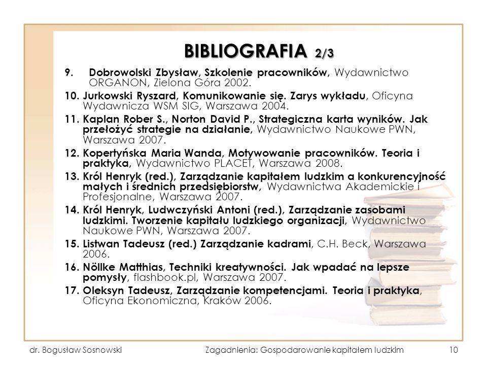 BIBLIOGRAFIA 2/3 9. Dobrowolski Zbysław, Szkolenie pracowników, Wydawnictwo ORGANON, Zielona Góra 2002. 10. Jurkowski Ryszard, Komunikowanie się. Zary