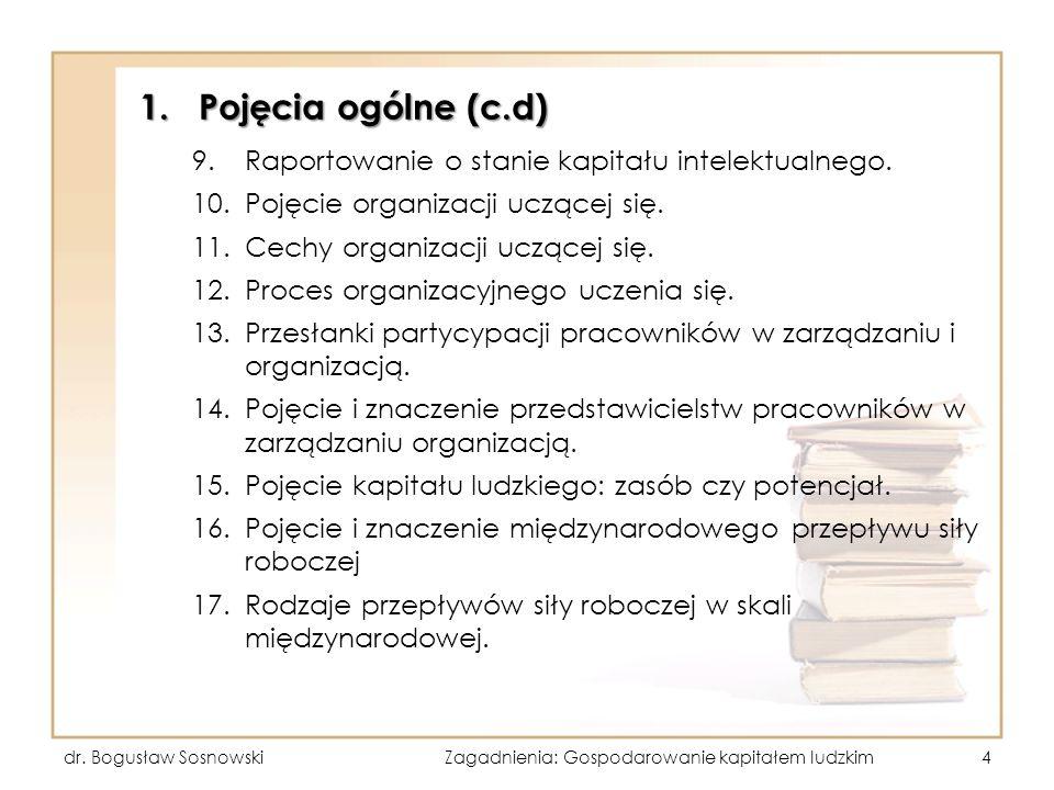 1.Pojęcia ogólne (c.d) 9.Raportowanie o stanie kapitału intelektualnego. 10.Pojęcie organizacji uczącej się. 11.Cechy organizacji uczącej się. 12.Proc