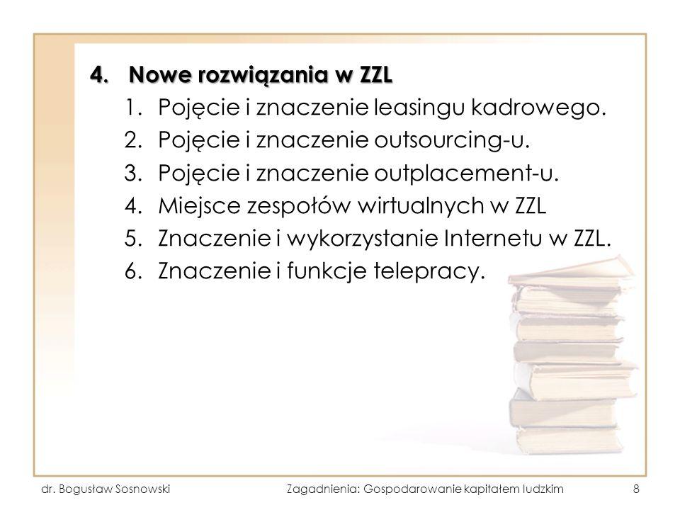 4.Nowe rozwiązania w ZZL 1.Pojęcie i znaczenie leasingu kadrowego. 2.Pojęcie i znaczenie outsourcing-u. 3.Pojęcie i znaczenie outplacement-u. 4.Miejsc