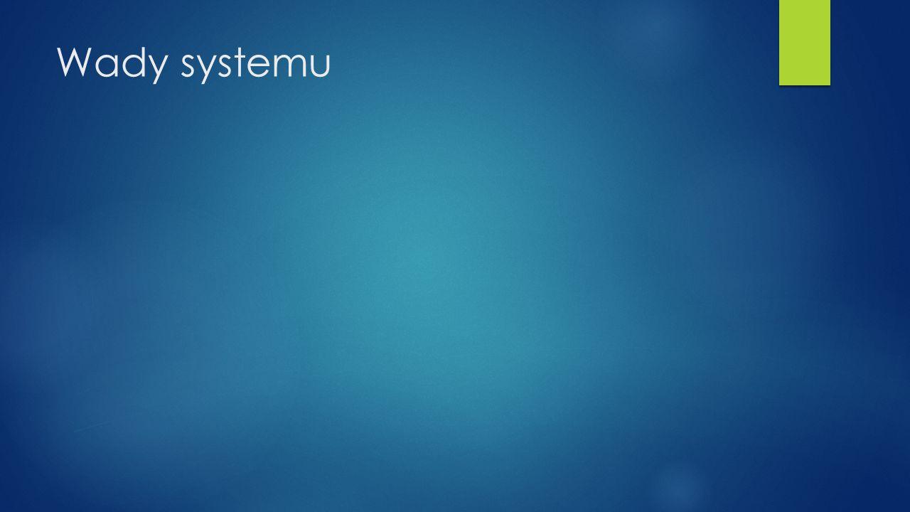 Wady systemu