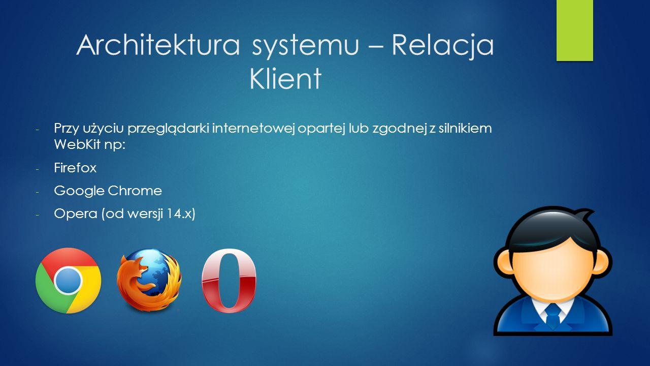 Architektura systemu – Relacja Klient - Przy użyciu przeglądarki internetowej opartej lub zgodnej z silnikiem WebKit np: - Firefox - Google Chrome - Opera (od wersji 14.x)