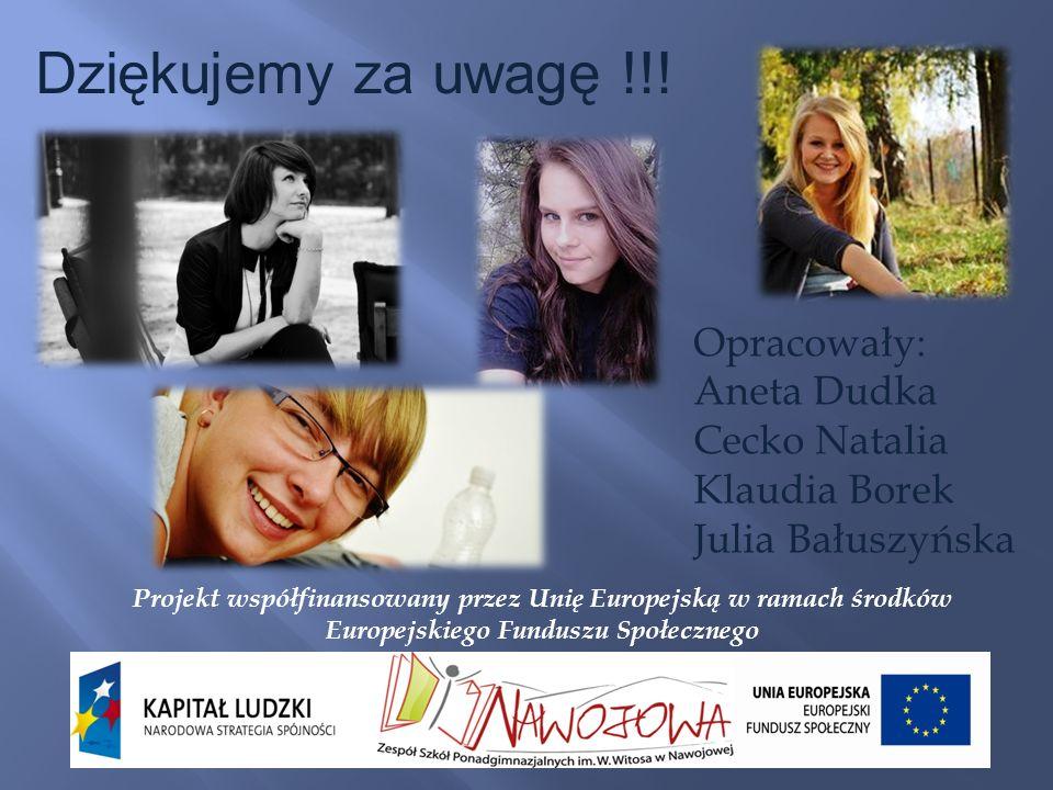 Dziękujemy za uwagę !!! Opracowały: Aneta Dudka Cecko Natalia Klaudia Borek Julia Bałuszyńska Projekt współfinansowany przez Unię Europejską w ramach