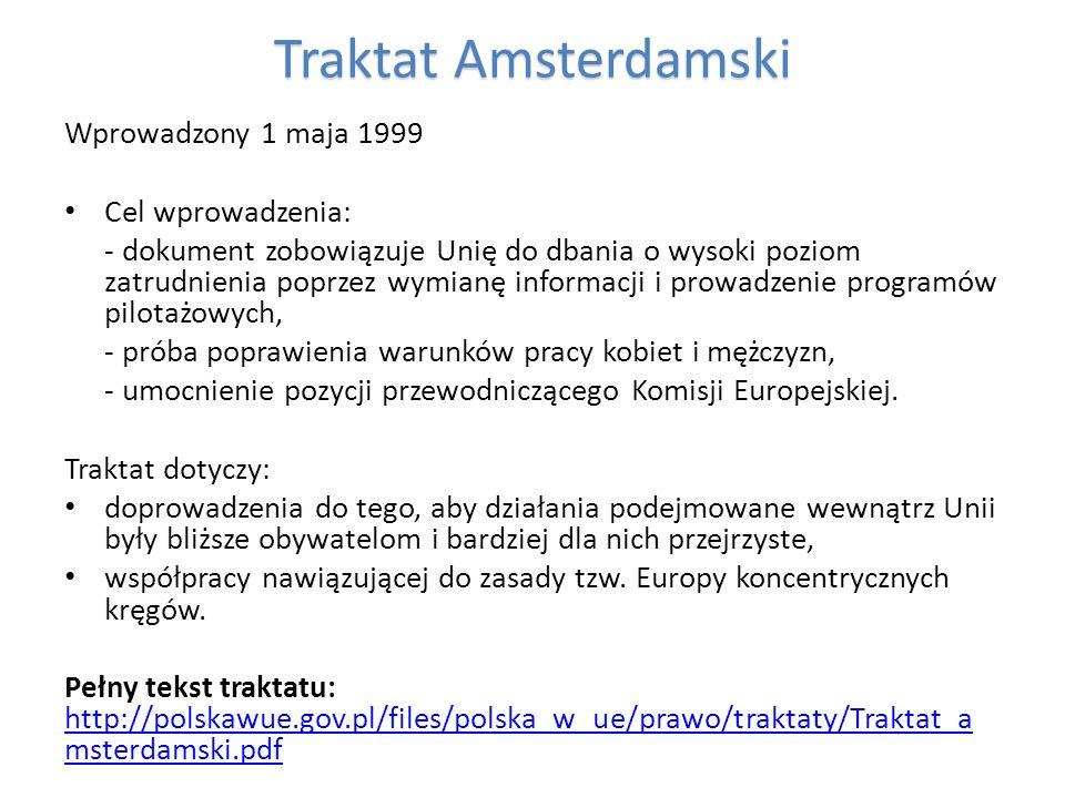 TraktatAmsterdamski Traktat Amsterdamski Wprowadzony 1 maja 1999 Cel wprowadzenia: - dokument zobowiązuje Unię do dbania o wysoki poziom zatrudnienia
