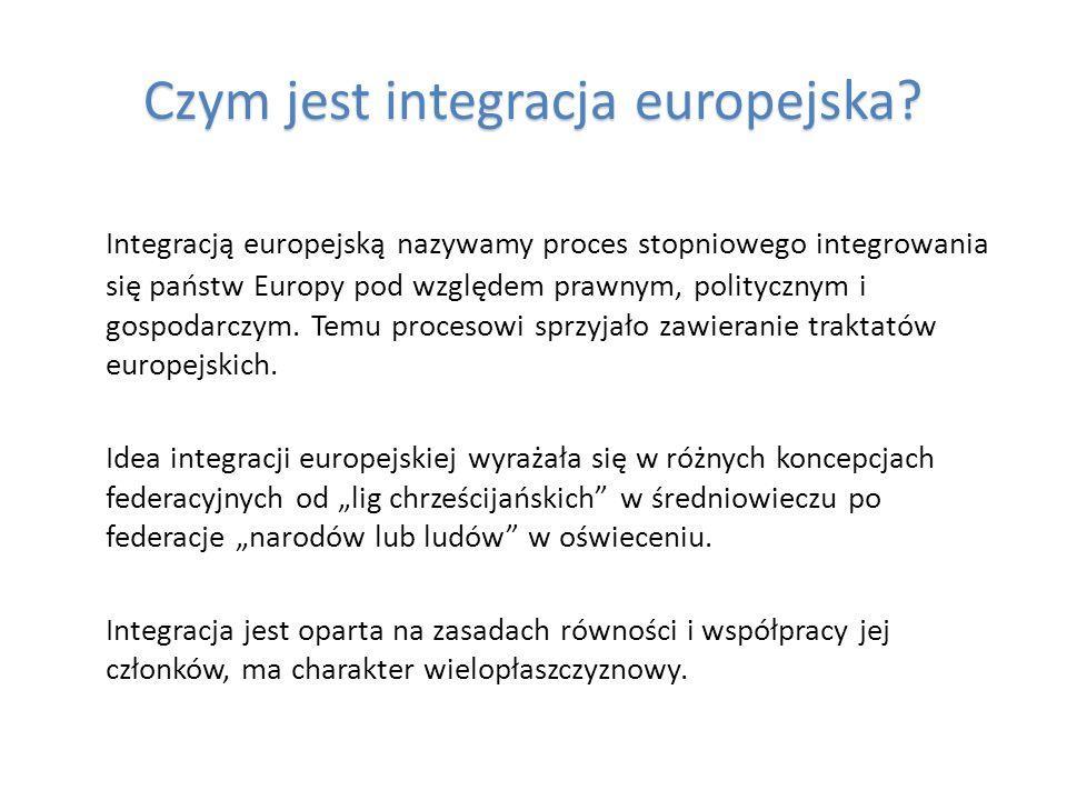 Czym jest integracja europejska? Integracją europejską nazywamy proces stopniowego integrowania się państw Europy pod względem prawnym, politycznym i
