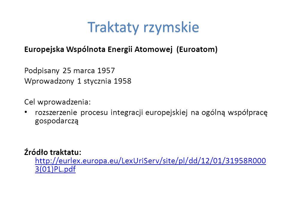 Traktaty rzymskie Europejska Wspólnota Energii Atomowej (Euroatom) Podpisany 25 marca 1957 Wprowadzony 1 stycznia 1958 Cel wprowadzenia: rozszerzenie