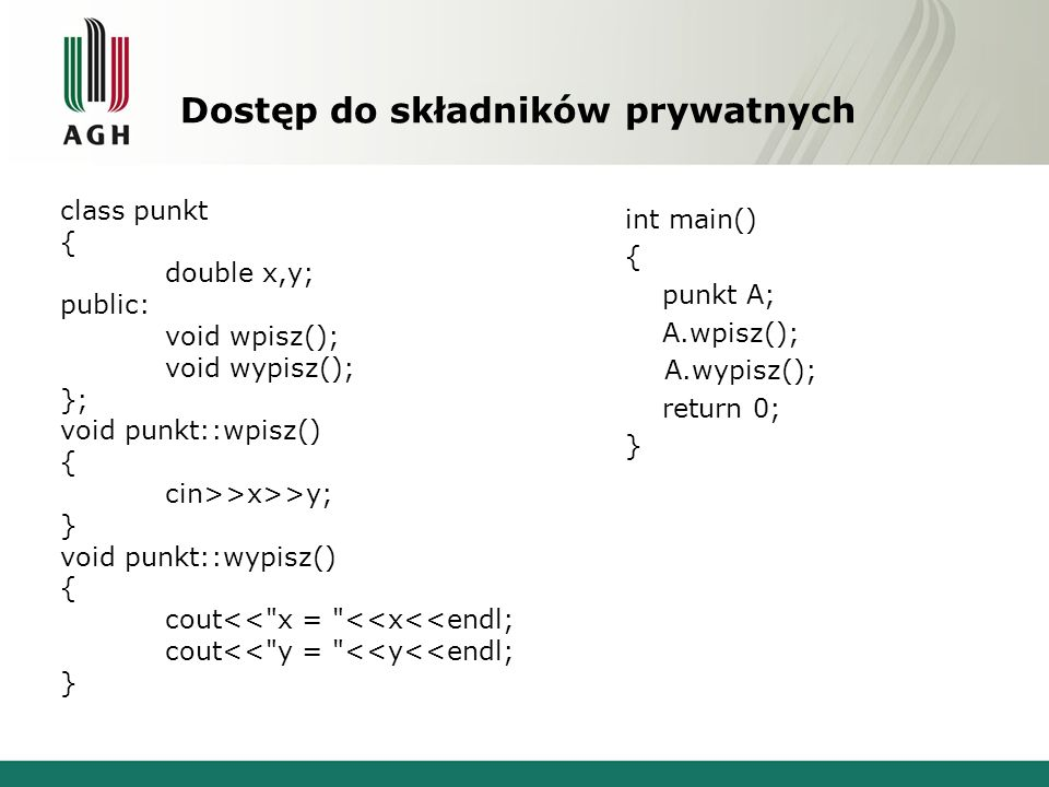 Cała klasa wektor class wektor { friend ostream &operator<<(ostream &ekran, const wektor &A); friend istream &operator>>(istream &klawiatura, wektor &A); int n; double *W; public: wektor(int a=1); wektor(int a, double *A); ~wektor(); wektor &operator=(const wektor &A); double &operator[](int a); static void *operator new(size_t rozmiar); static void *operator new[](size_t rozmiar); static void operator delete(void *wsk); static void operator delete[](void *wsk); wektor &operator++(); wektor operator++(int); };