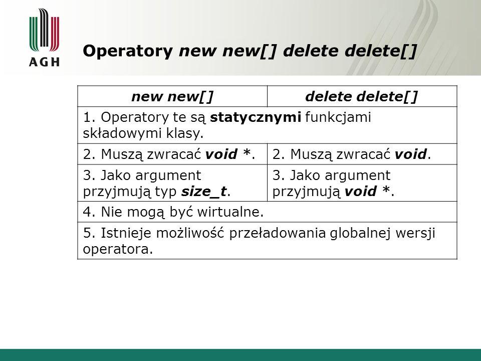 Operatory new new[] delete delete[] new new[] delete delete[] 1.