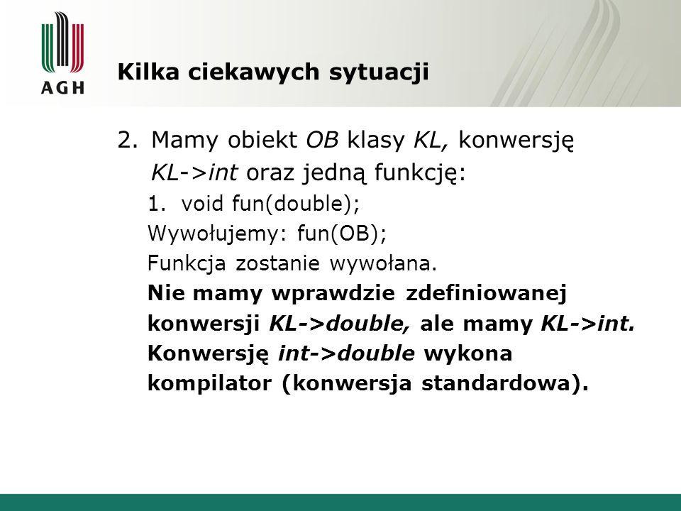 Kilka ciekawych sytuacji 2.Mamy obiekt OB klasy KL, konwersję KL->int oraz jedną funkcję: 1.void fun(double); Wywołujemy: fun(OB); Funkcja zostanie wy