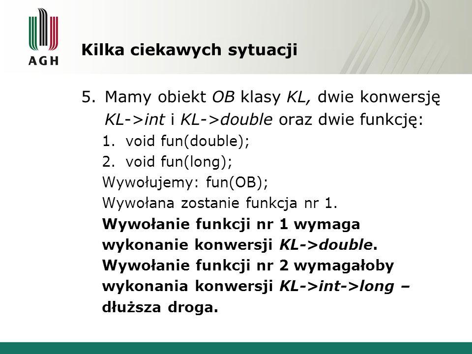 Kilka ciekawych sytuacji 5.Mamy obiekt OB klasy KL, dwie konwersję KL->int i KL->double oraz dwie funkcję: 1.void fun(double); 2.void fun(long); Wywoł
