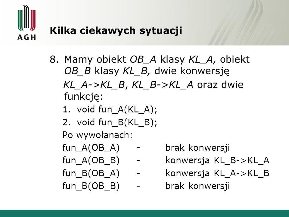 Kilka ciekawych sytuacji 8.Mamy obiekt OB_A klasy KL_A, obiekt OB_B klasy KL_B, dwie konwersję KL_A->KL_B, KL_B->KL_A oraz dwie funkcję: 1.void fun_A(