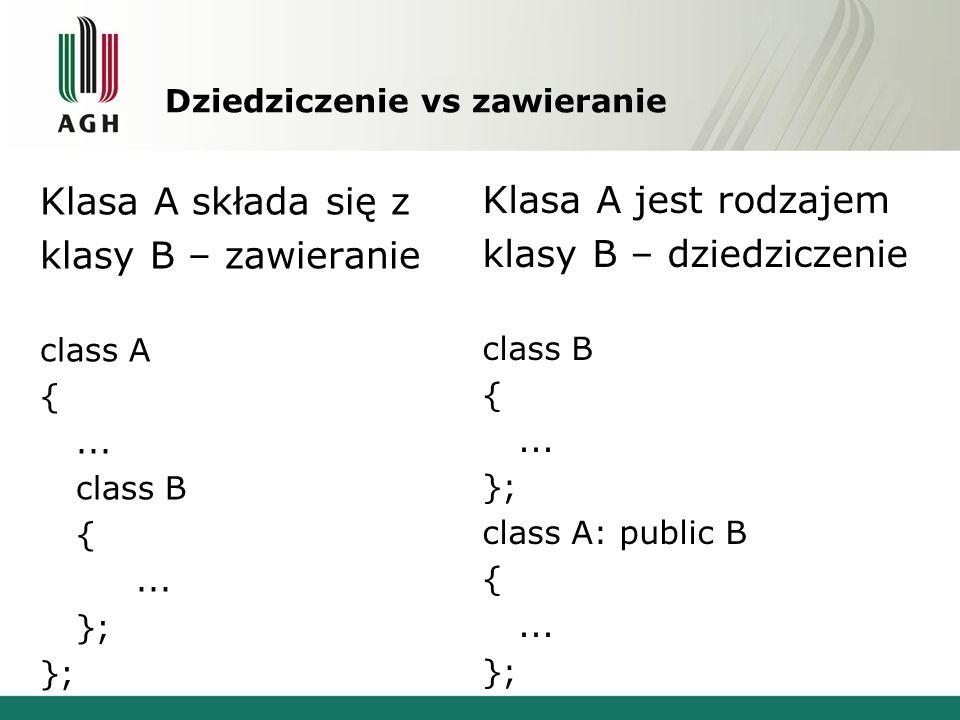 Dziedziczenie vs zawieranie Klasa A składa się z klasy B – zawieranie class A {... class B {... }; Klasa A jest rodzajem klasy B – dziedziczenie class