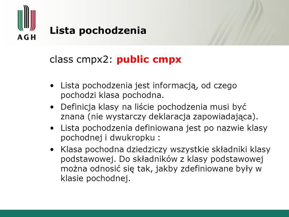 Lista pochodzenia class cmpx2: public cmpx Lista pochodzenia jest informacją, od czego pochodzi klasa pochodna. Definicja klasy na liście pochodzenia