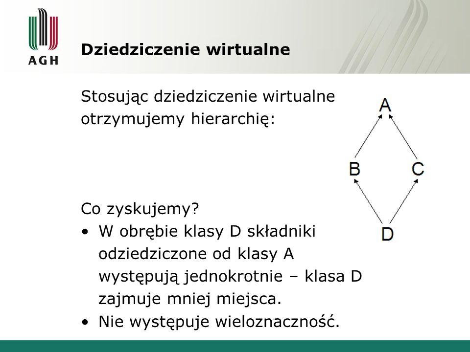 Dziedziczenie wirtualne Stosując dziedziczenie wirtualne otrzymujemy hierarchię: Co zyskujemy? W obrębie klasy D składniki odziedziczone od klasy A wy