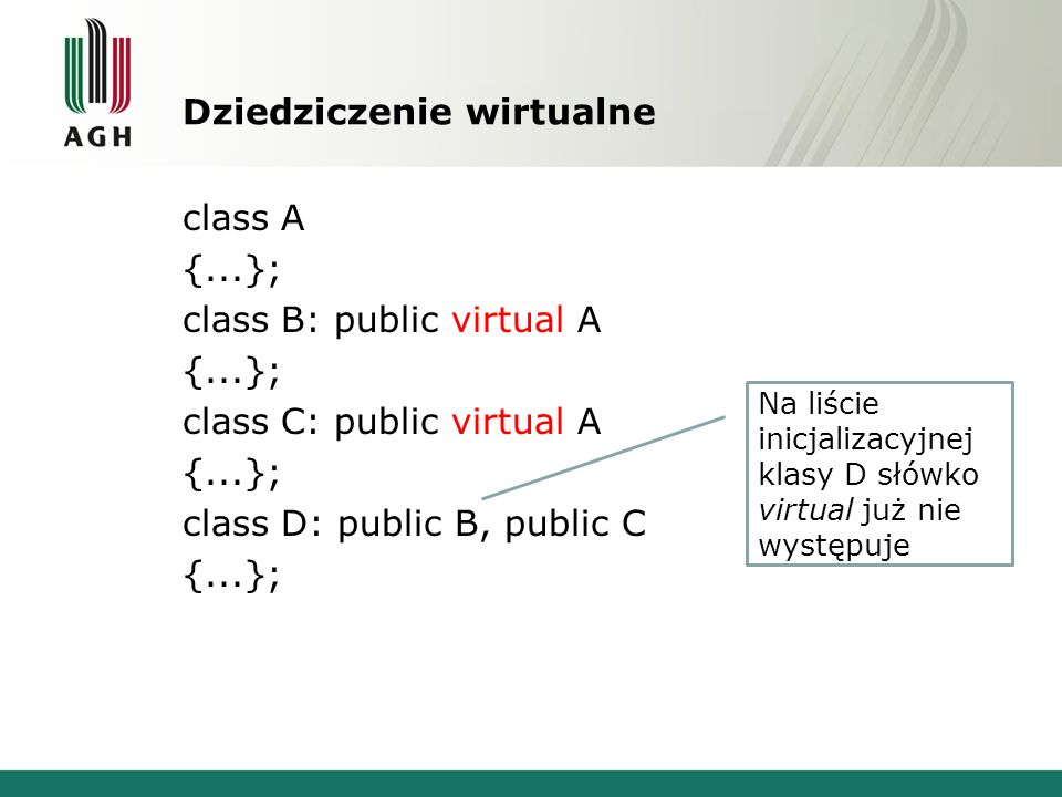 Dziedziczenie wirtualne class A {...}; class B: public virtual A {...}; class C: public virtual A {...}; class D: public B, public C {...}; Na liście