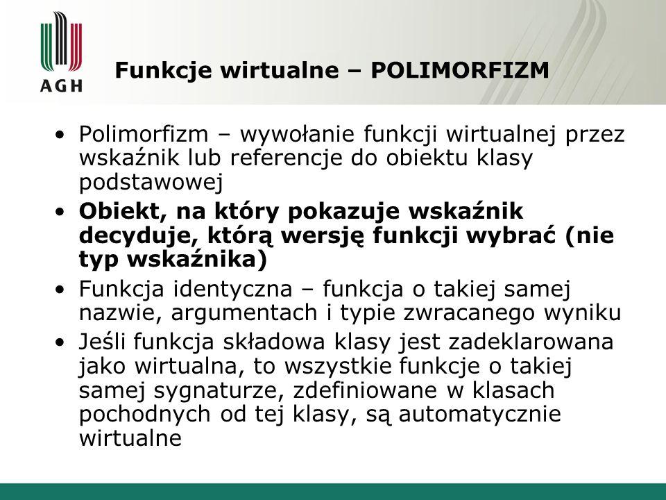Funkcje wirtualne – POLIMORFIZM Polimorfizm – wywołanie funkcji wirtualnej przez wskaźnik lub referencje do obiektu klasy podstawowej Obiekt, na który