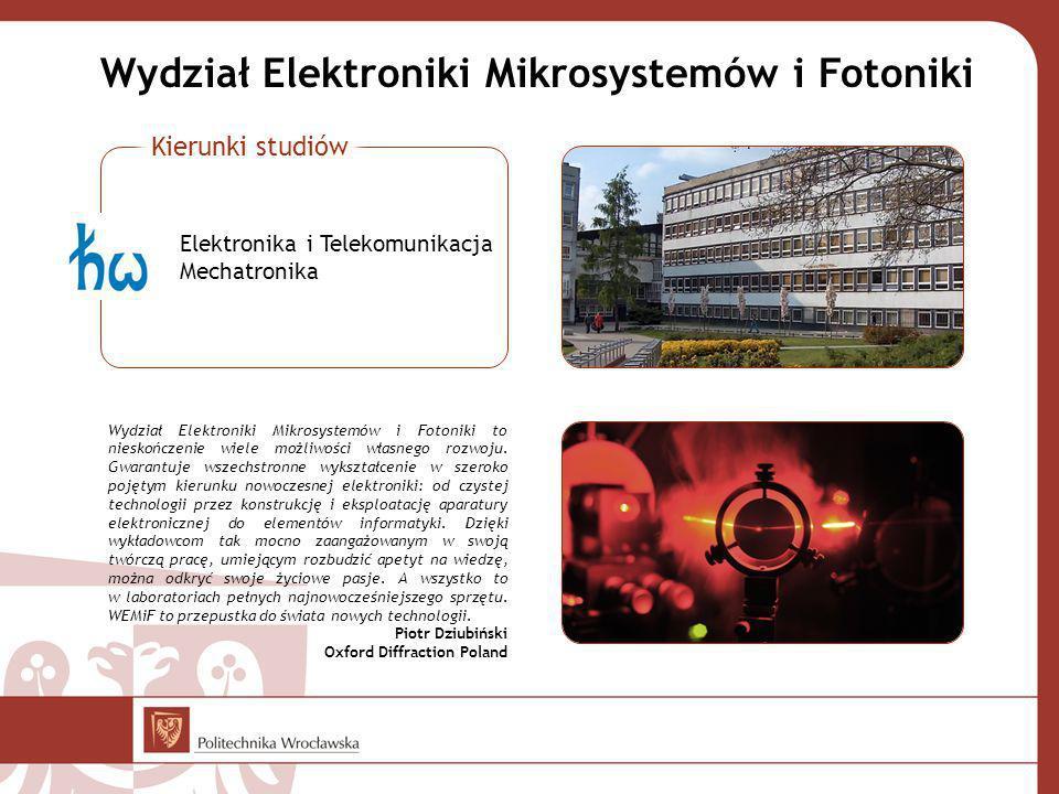 Wydział Elektroniki Mikrosystemów i Fotoniki Wydział Elektroniki Mikrosystemów i Fotoniki to nieskończenie wiele możliwości własnego rozwoju. Gwarantu