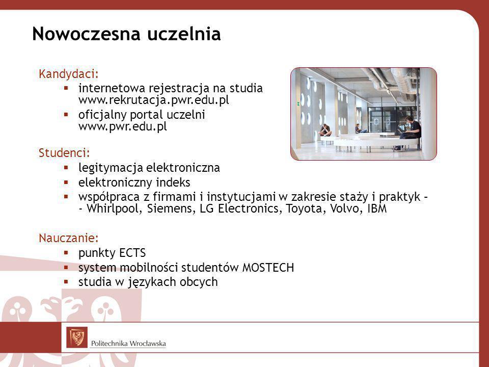 Nowoczesna uczelnia Kandydaci: internetowa rejestracja na studia www.rekrutacja.pwr.edu.pl oficjalny portal uczelni www.pwr.edu.pl Studenci: legitymac