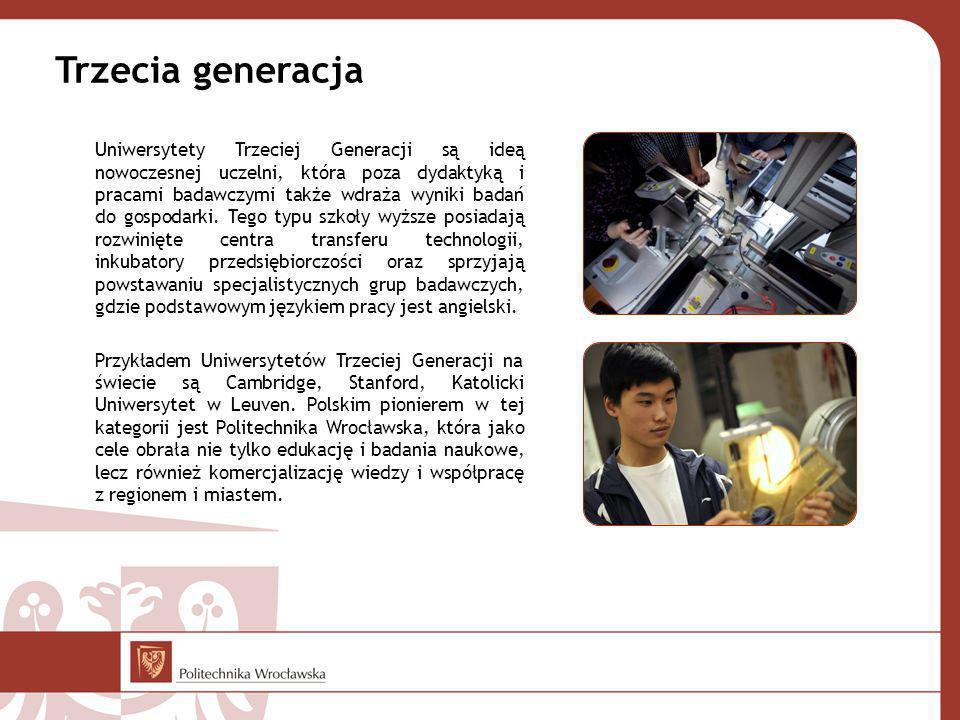 Trzecia generacja Uniwersytety Trzeciej Generacji są ideą nowoczesnej uczelni, która poza dydaktyką i pracami badawczymi także wdraża wyniki badań do gospodarki.