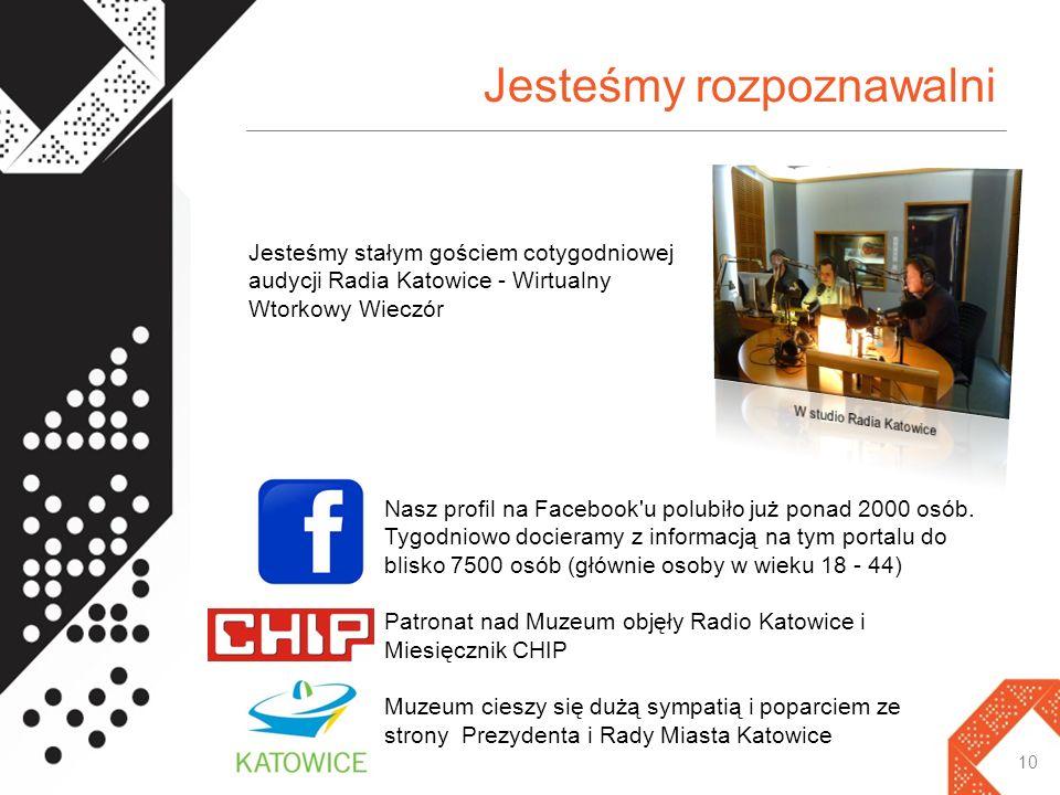 Jesteśmy rozpoznawalni 10 Jesteśmy stałym gościem cotygodniowej audycji Radia Katowice - Wirtualny Wtorkowy Wieczór Nasz profil na Facebook u polubiło już ponad 2000 osób.
