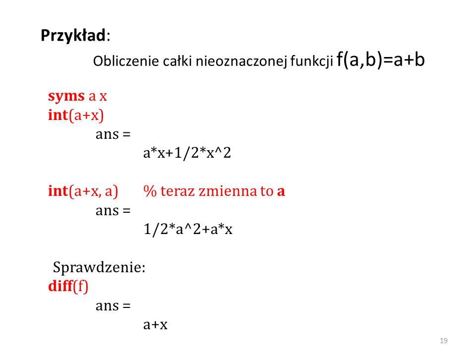syms a x int(a+x) ans = a*x+1/2*x^2 int(a+x, a) % teraz zmienna to a ans = 1/2*a^2+a*x Sprawdzenie: diff(f) ans = a+x Przykład: Obliczenie całki nieoz