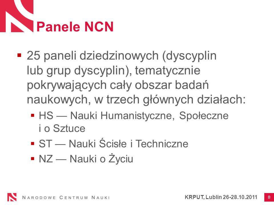 Panele NCN 25 paneli dziedzinowych (dyscyplin lub grup dyscyplin), tematycznie pokrywających cały obszar badań naukowych, w trzech głównych działach: HS Nauki Humanistyczne, Społeczne i o Sztuce ST Nauki Ścisłe i Techniczne NZ Nauki o Życiu 8 KRPUT, Lublin 26-28.10.2011