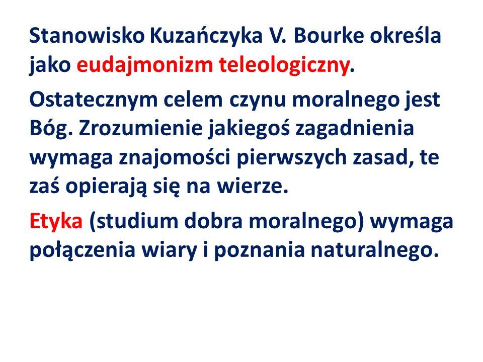 Stanowisko Kuzańczyka V. Bourke określa jako eudajmonizm teleologiczny. Ostatecznym celem czynu moralnego jest Bóg. Zrozumienie jakiegoś zagadnienia w