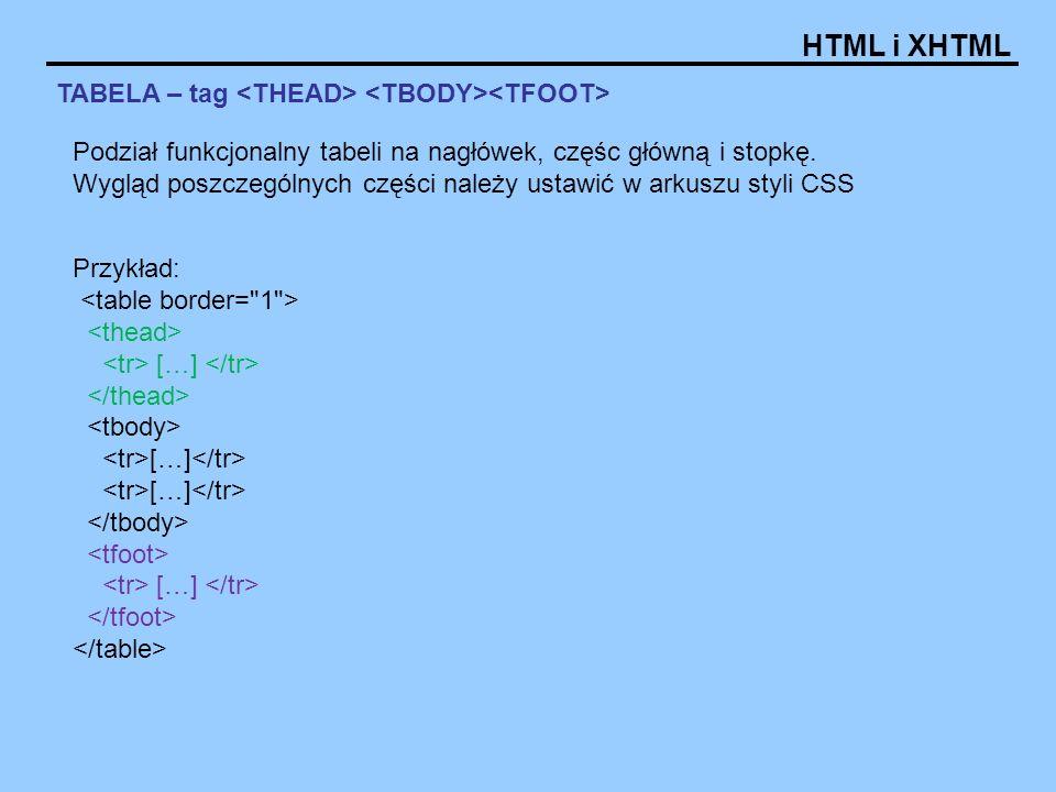 HTML i XHTML TABELA – tag Przykład: […] […] […] […] Podział funkcjonalny tabeli na nagłówek, częśc główną i stopkę.