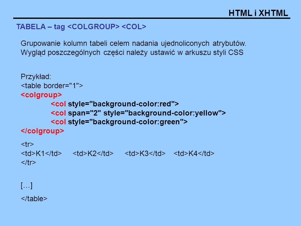 HTML i XHTML TABELA – tag Przykład: K1 K2 K3 K4 […] Grupowanie kolumn tabeli celem nadania ujednoliconych atrybutów.