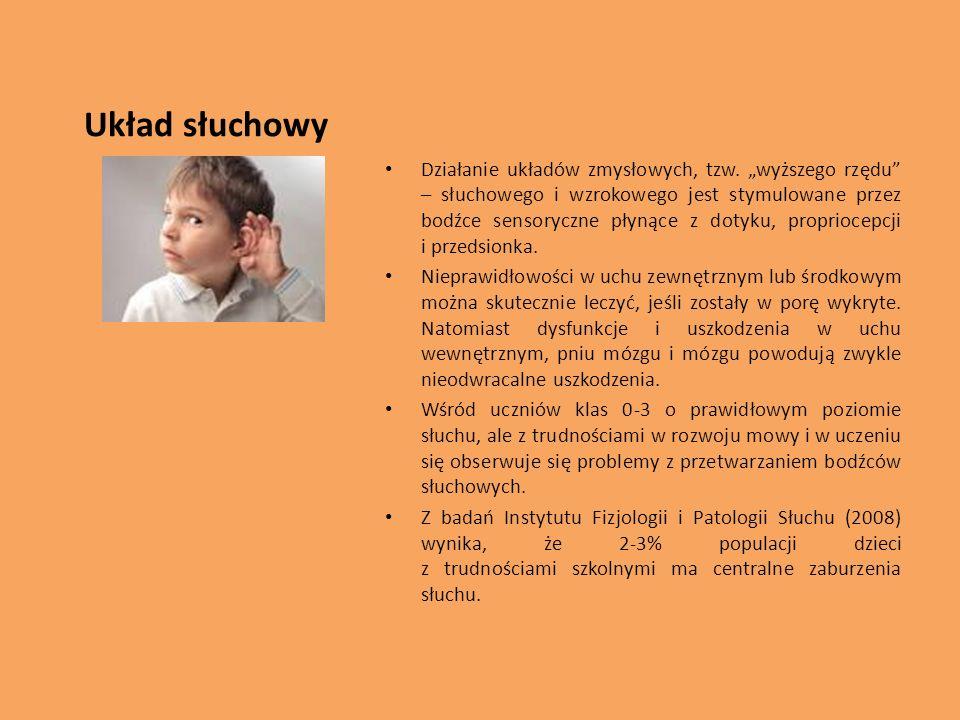 Układ słuchowy Działanie układów zmysłowych, tzw. wyższego rzędu – słuchowego i wzrokowego jest stymulowane przez bodźce sensoryczne płynące z dotyku,