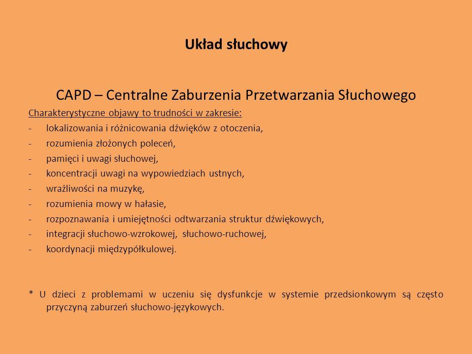 Układ słuchowy CAPD – Centralne Zaburzenia Przetwarzania Słuchowego Charakterystyczne objawy to trudności w zakresie: -lokalizowania i różnicowania dź