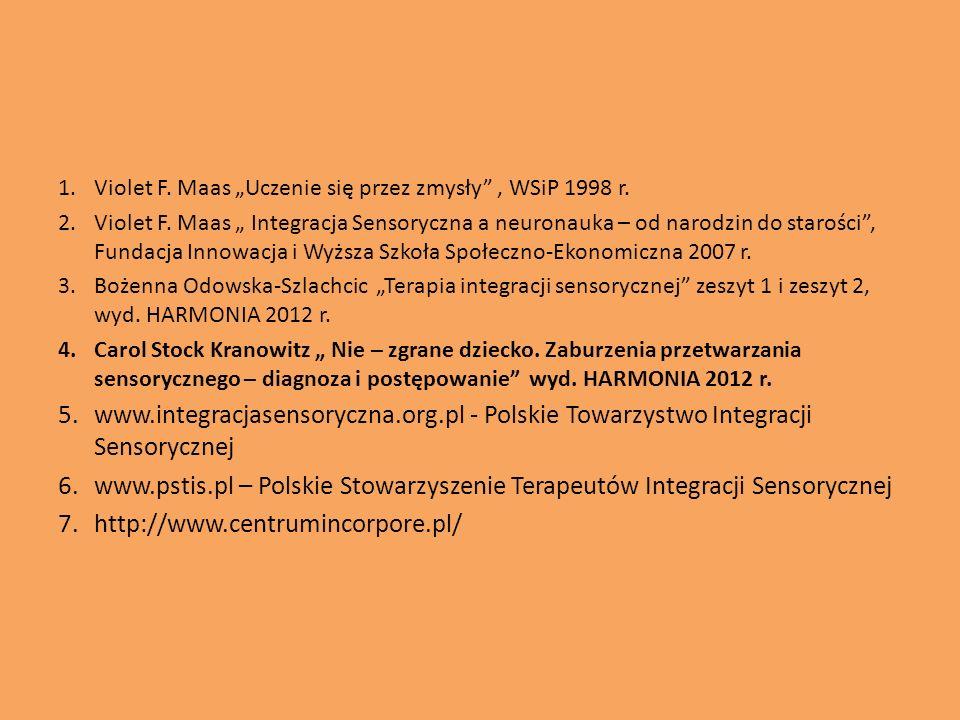 1.Violet F. Maas Uczenie się przez zmysły, WSiP 1998 r. 2.Violet F. Maas Integracja Sensoryczna a neuronauka – od narodzin do starości, Fundacja Innow