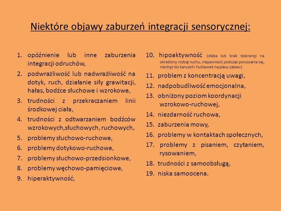 Niektóre objawy zaburzeń integracji sensorycznej: 1.opóźnienie lub inne zaburzenia integracji odruchów, 2.podwrażliwość lub nadwrażliwość na dotyk, ru