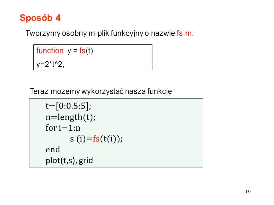 19 Sposób 4 Tworzymy osobny m-plik funkcyjny o nazwie fs.m: function y = fs(t) y=2*t^2; t=[0:0.5:5]; n=length(t); for i=1:n s (i)=fs(t(i)); end plot(t